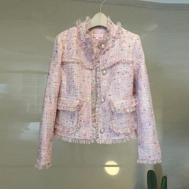 Casual Autumn Winter Coat Women Woolen Coats Chic Tassels Tweed Jacket Pearl Buttons Abrigos Mujer Invierno 2018 Casaco Feminino