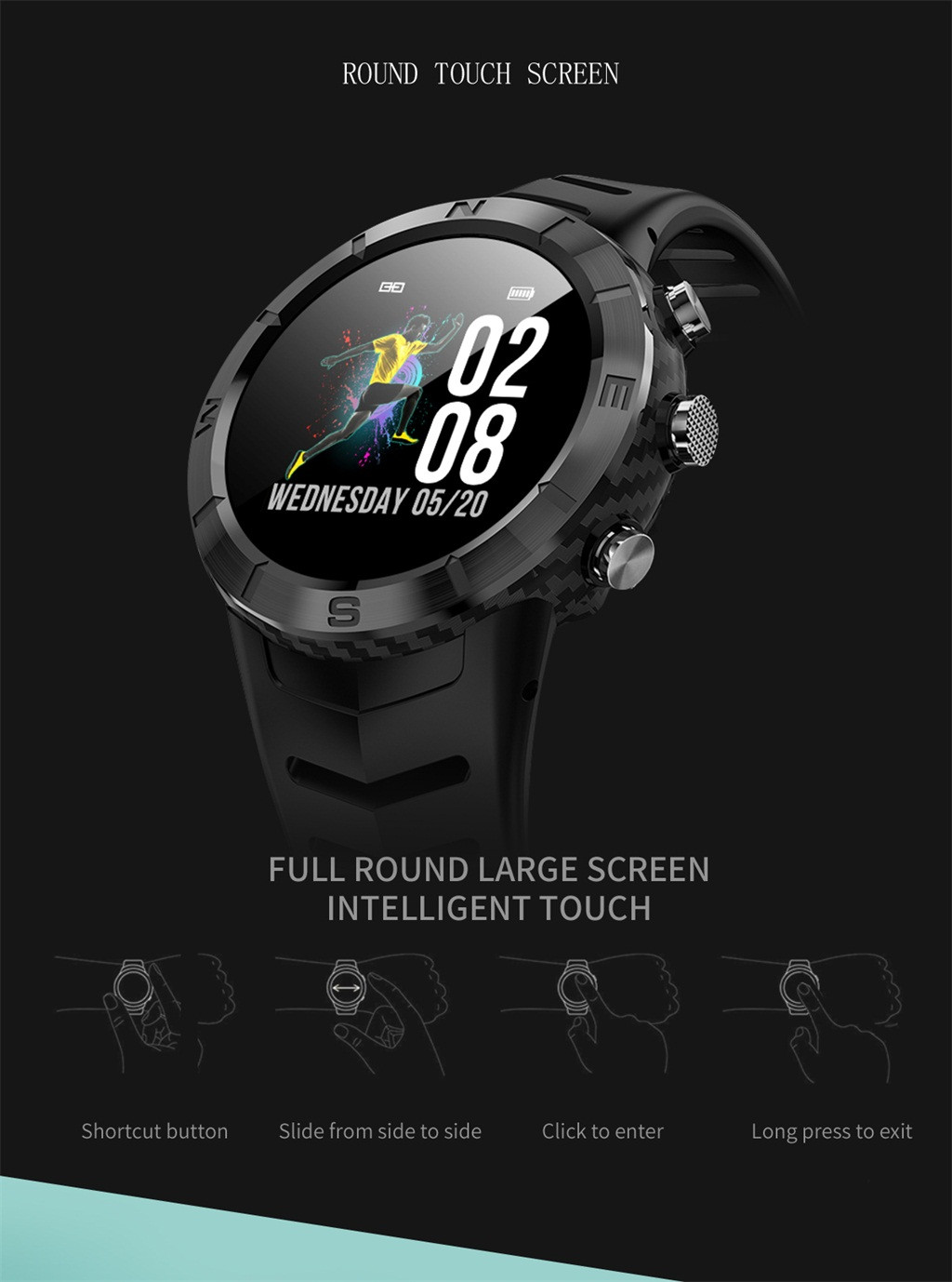 OMESHIN DT08 Round Full Touch Screen IP67 Waterproof Heart Rate Monitor Motion Smart Watch Intelligent Sensor 0710