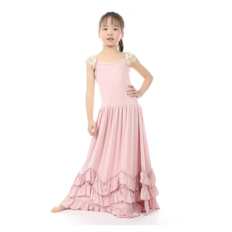 Vintage Girls Dress Rustic Flower Girl Dress Summer Cotton