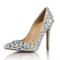 Роскошные Стразы Для женщин на высоком каблуке свадебные туфли лодочки со стразами шикарные, на высоких каблуках стразы из горного хрустал