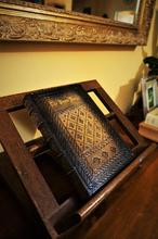 Genuine leather travel journal notebook sketchbook leather bound monastic style large journal with antique patterns and symbols