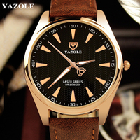 YAZOLE Brand Mens Leather Strap Quartz Watch Casual Business Luminous Pointer Waterproof Male Wristwatches 2017 New