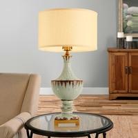 Modern Table Lamp Fabric Lampshade LED Lamparas de mesa Trophy Shape Ceramic Desk Light Home Lighting Deco Luminaria de mesa