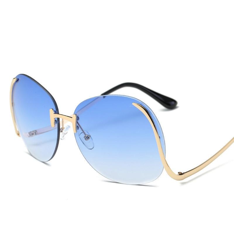 a71bb0bb3bff7 Gradiente sem aro Clássico Óculos Lentes Óculos De Sol Metal Frame Mulheres  Homens UV400 óculos de Sol Do Vintage Óculos de Armação Retro de Grandes ...
