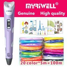 Myriwell 3d pluma 3d plumas pantalla LED 20x 5 mABS/PLA filamento mejor regalo para niños 3 d pen 3d pluma mágica 3d modelo inteligente 3d pluma de la impresora