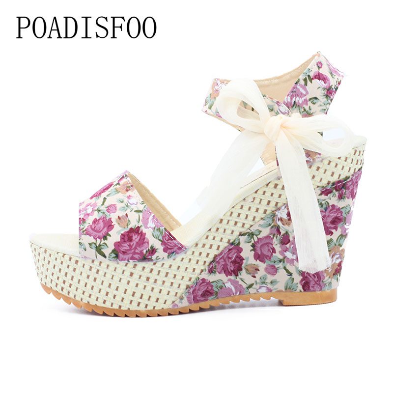 POADISFOO Summer New Sweet Flowers Buckle Open Toe Wedge Sandals Floral high-heeled Shoes .HYKL-915 vtota new summer sandals women shoes woman platform wedge sweet flowers buckle open toe sandals floral high heeled shoes q75