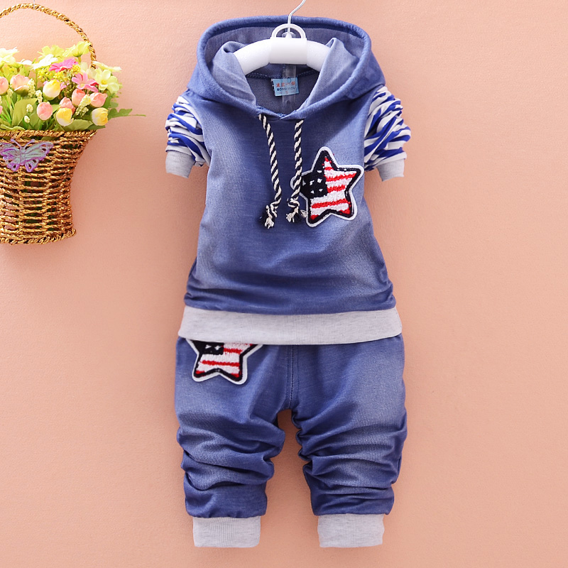 2017 New 2pcs spring autumn children clothing set baby girls sports suit star casual costume for 0-4Y