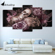 HD Printed sugar skull and roses Painting 5 piece Canvas art Print room  decor print poster picture canvas Free shipping ny-2921 d714b298a20c