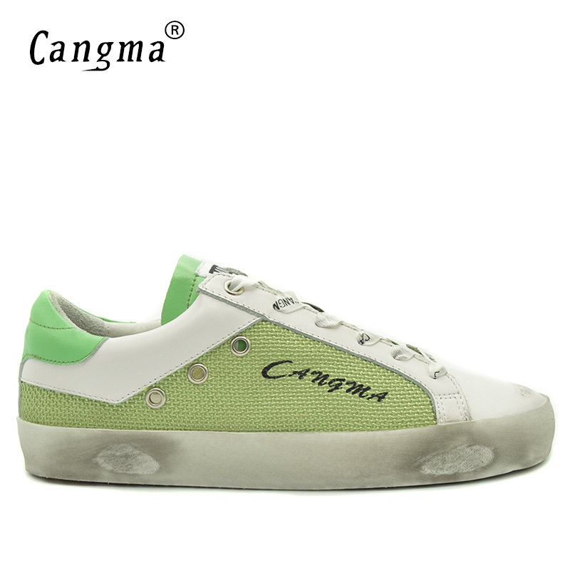 CANGMA Shoes Men Sneakers Footwear Classic Casual Green Hemp for Man Genuine-Leather