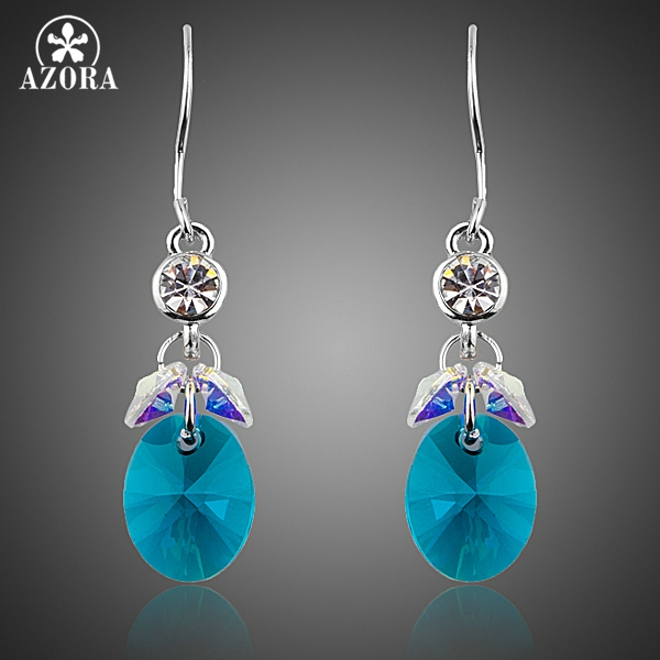AZORA Elegant Cluster Gradual Change Stellux Austrian Blue Crystal Drop Earrings for Women TE0266