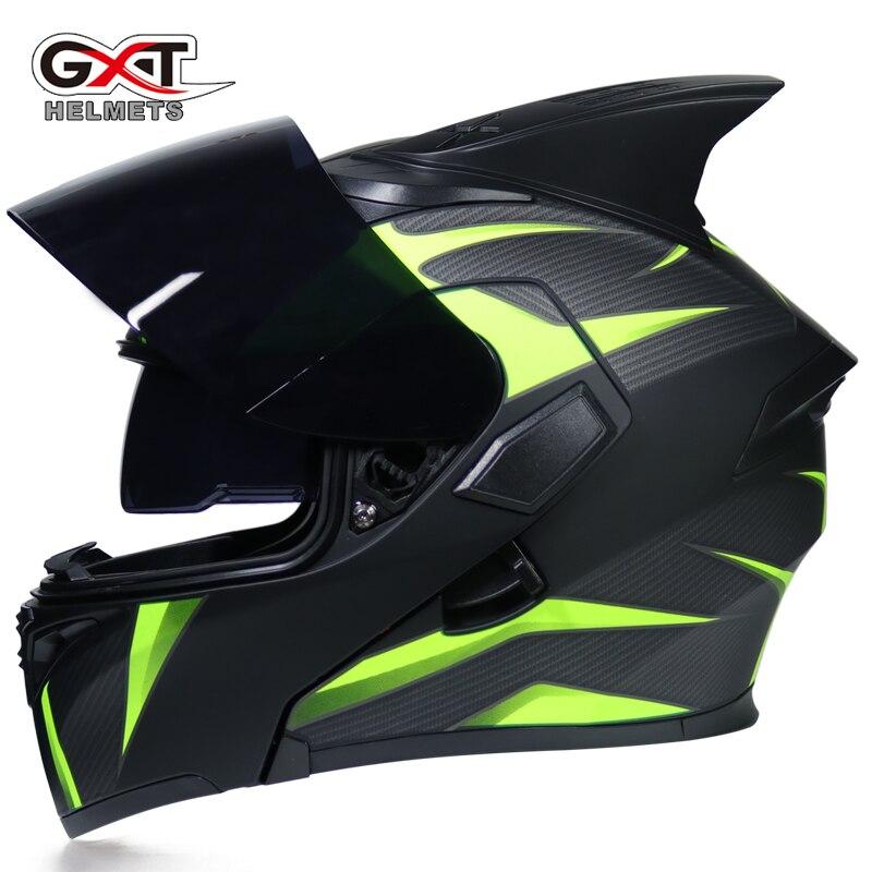 8ec7fa3ce GXT flip up motorcycle helmet double lense full face helmet Casco Racing  Capacete