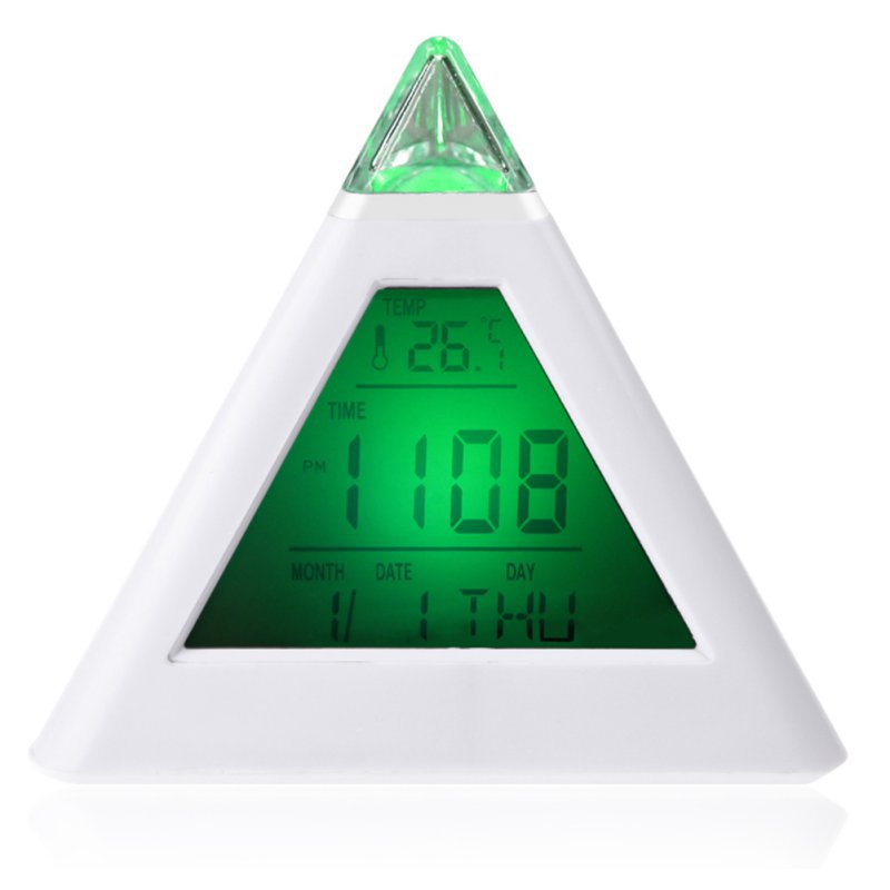 Pyramid LCD Digital Snooze Alarm Clock Time Data Week Temperature Thermometer C/f Hour Home for 7 LED Change Colors Hot Sale