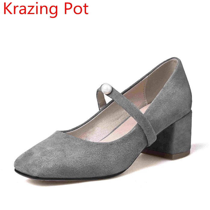2017 Fashion Genuine Leather Shoes Women Med Heels Pearl Pumps Slip on Lady Mary Janes Square Toe Nude Work Party Pumps L3F2 2017 krazing pot shoes women fashion med heels genuine leather pearl pumps slip on lady shoes square toe nude work pumps l3f2