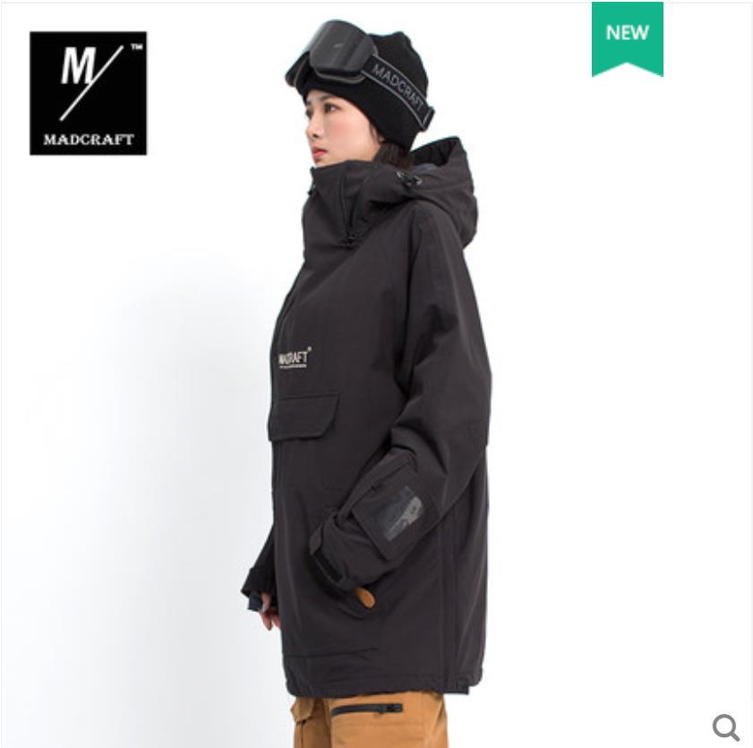 Пуловер Лыжная куртка мужская зимняя теплая и ветрозащитная водонепроницаемая одежда для сноуборда лыжное снаряжение черный комбинезон зимние куртки-30 - Цвет: NEW BLACK JKT