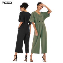 PGSD New Spring summer Simple Fashion Women Clothes V-collar Bat Sleeve Button pocket Loose Solid color Chiffon Jumpsuits female