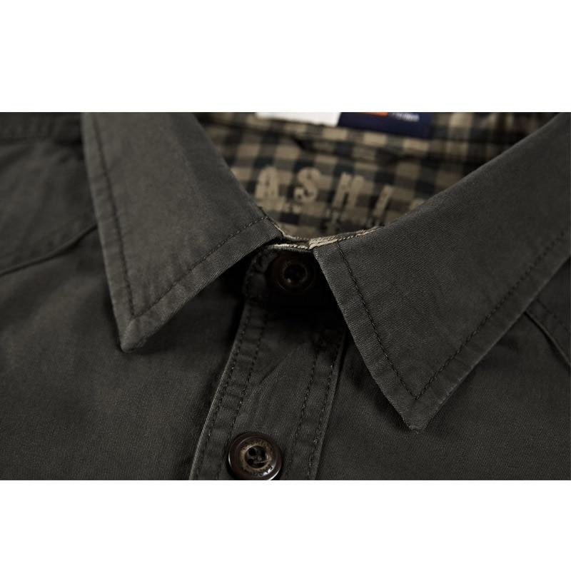 kaki Printemps Hommes Longues Uniforme À Vert Manches Coton Militaire Nouveau Casual Automne Style Chemise 2019 Mode HwvZABqv