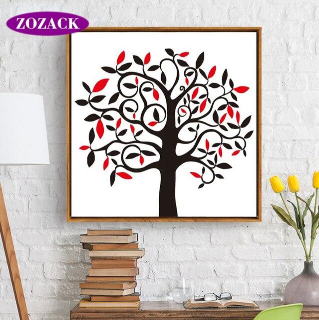 Zozack chino bordado DIY DMC felicidad árbol Cruz puntada impreso ...