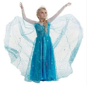 SAMGAMI BEBÊ Frete Grátis 2018 New Vestido de Elsa e Anna Meninas Chidlren Vestido Vestidos de Princesa Traje Crianças Meninas Vestem 4-8A