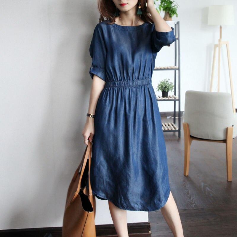 Tencel супер мягкие О-образным вырезом шнурок платье Femine