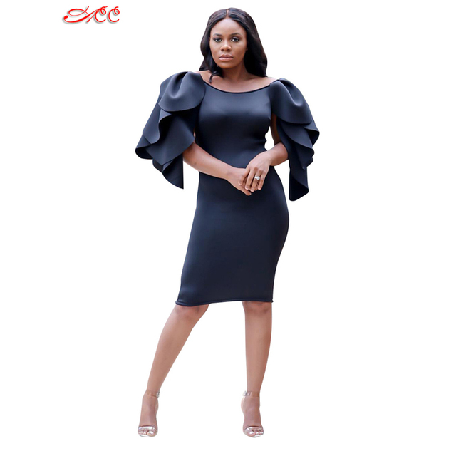 2018 Autumn New Dinner Dress Solid Color Ruffled Sleeves Black Dress