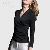 American style elegant ladies natural silk tops and blouses sexy V Neck summer slim silk shirt tops camisa blusa feminina LT1977