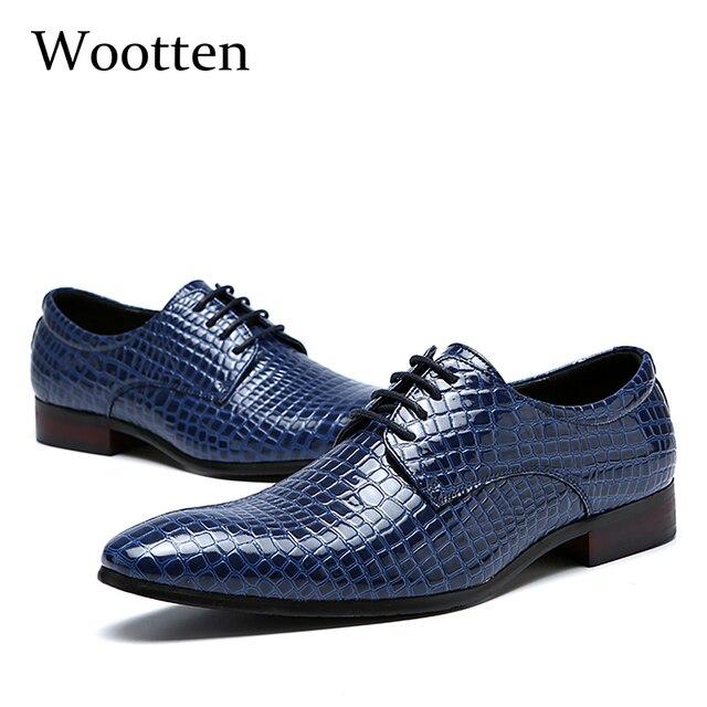 Большие размеры Мужские модельные туфли для взрослых крокодил свадебные туфли с острым носком Модные Офисные социальных элегантные деловые мужские туфли #1779
