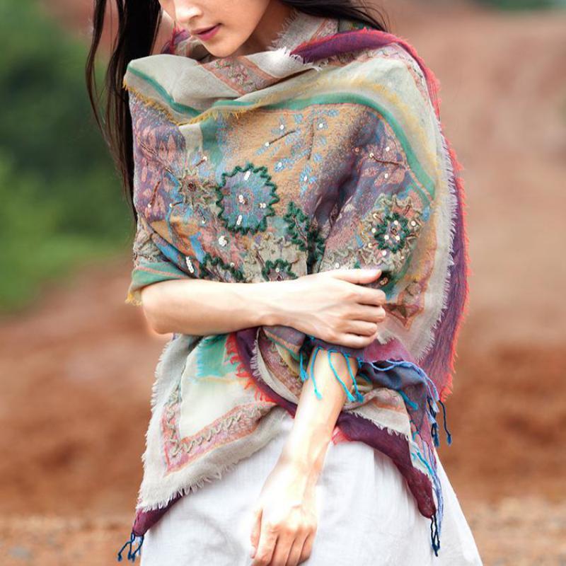 Female Autumn Winter   Scarf   Nepal Indai Handmade Embroidery Shawls Warm Flower National Style   Wrap   Pashmina Sunscreen Shawl