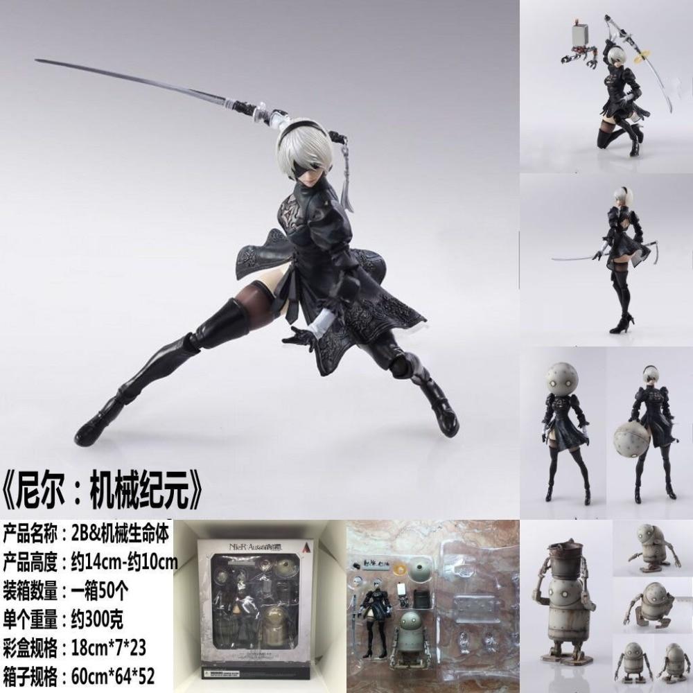 14cm Anime NieR:Automata 2b Movable YoRHa No 2 Type B Black Dress Decoration NB