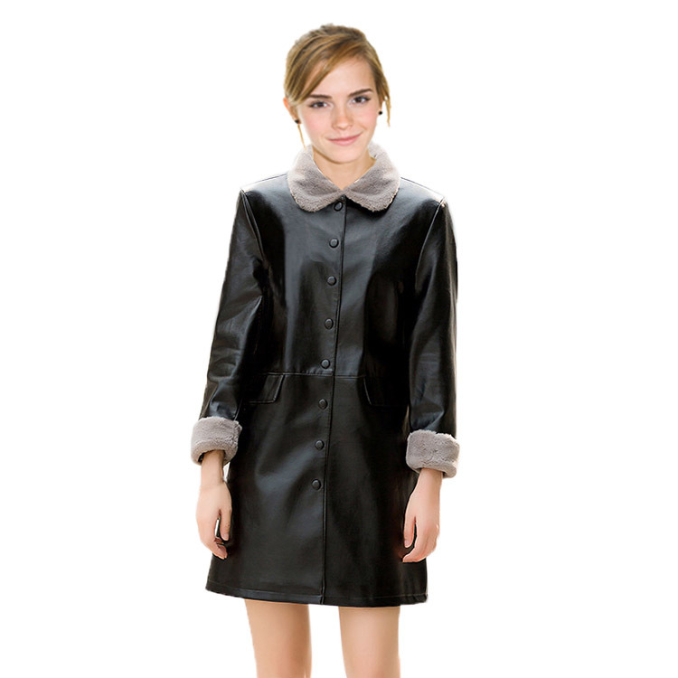 Thick warm winter long leather jacket female 2019 lambskin PU jacket jaqueta corta vento feminina windbreaker women Plus size