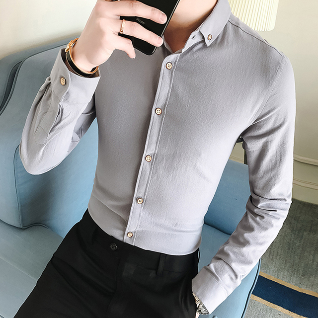 ade5c8b9711d7 US $13.28 15% OFF|Men French Cufflinks Shirt 2018 New Men's Shirt Long  Sleeve Casual Male Brand Shirts Slim Fit French Cuff Dress Shirts For  Men-in ...