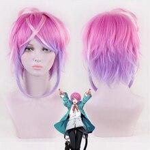 部門ラップバトル催眠マイクamemura ramudaショートウィッグコスプレ衣装男性女性耐熱人工毛ウィッグ + キャップ