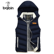 Hot Sell New Fashion font b Men S b font Vest Winter Men Brand Hooded Vest
