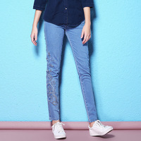 2018 Spring And Autumn New Arrival White Collar Pants Slim Soluble Lace Pants Wild Jeans Large