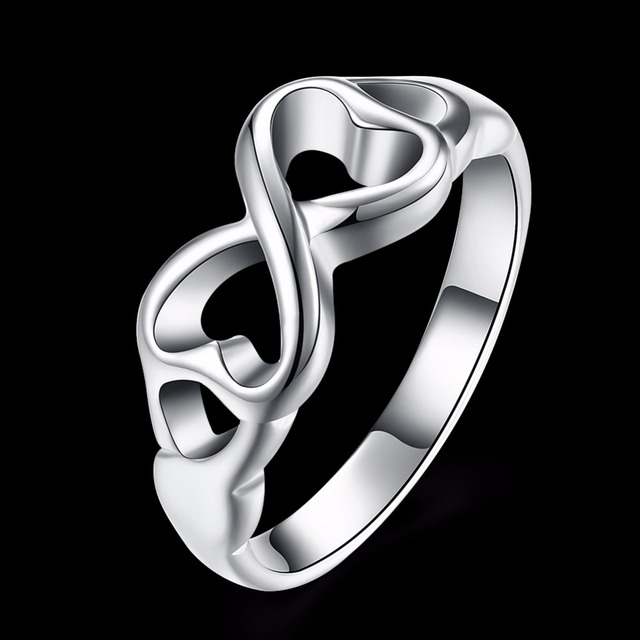 925 Pure Silver Plated Infinity Rings Best Friend Friendship Love