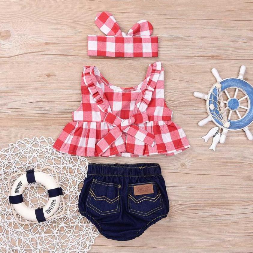 MUQGEW 2019 Summer Baby Girl Clothing Set Plaid Skirted T-shirt Tops+Denim Short Headband  Baby Girl Clothes Newborn Outfits