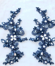 6Pieces Beaded Lace Applique Rhinestone Embroidery Flower Sewing Trims DIY Craft Navy