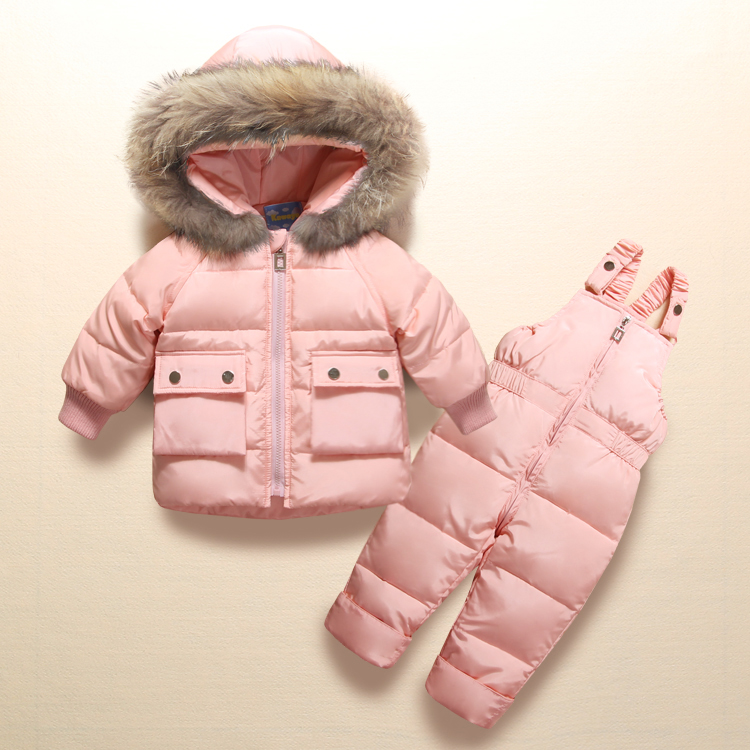 Winter Clother Kids Girls Boys Snowsuit Set Strap Warm Pants Boy Baby Jacket Duck down Coat Children Real Fur Hooded Outerwear 2 pcs baby boy clothing set baby navy blue long sleeve warm velvet jacket boys hooded coat pants girls hoodies kids trousers