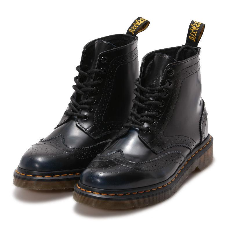 Fashion Retro Genuine Leather Martin Boots Black Casual Short Boots Europe and America Popular Leather Boots Flats Shoes fall trendboots in europe and america heavy bottomed martin boots british style high top shoes shoes boots sneakers