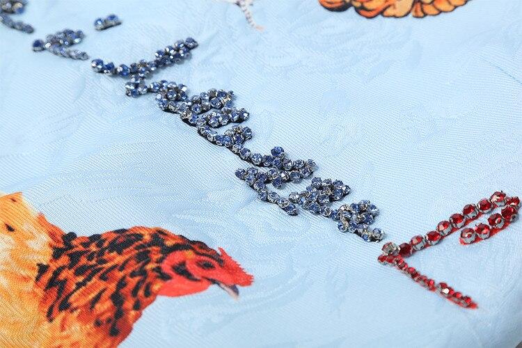 2018 Dessus Genou Femmes ligne D'été Du Arrivée cou A O Robe Et Nouvelle Sans De Printemps Poulet Réservoir Diamants Mode Manches Imprimer Élégant rBFwxURqr8