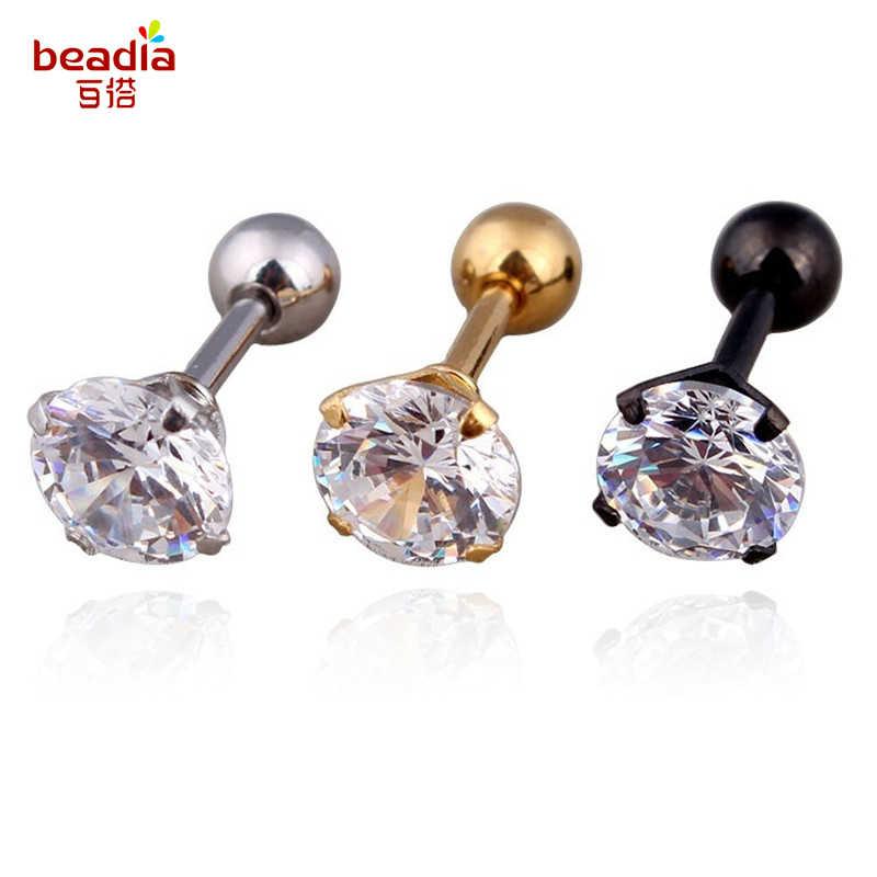 19aa419954e6e Hot Sale 1pc/bag 3/4/5/6mm 4 Colors Medical titanium needle True zircon  Earrings Ear Piercing Cartiliage For DIY Party Earrings