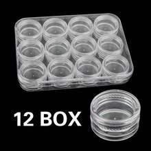 12 pçs pequenos potes conjunto de arte do prego vazio caixa de armazenamento de plástico em pó paillette cristal claro caso dag-navio