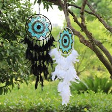 Useful Home Hanging Decorations Dreamcatcher Wind Chimes Dream Catcher White Black Feather For Car Home Bedroom Decor(China)