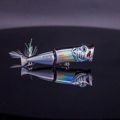 top popper agua nadar 8 cm 12g iscas de pesca crankbaits wobblers com pena recuperar