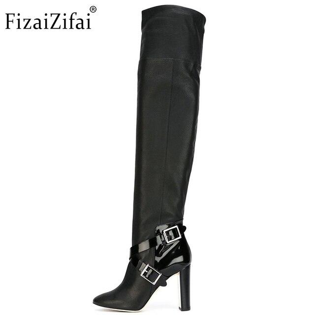 Donne Tacco Alto Stivali Al Ginocchio di Moda Fibbia Scarpe Delle Signore della  Donna Punta a 717cdd3a8bd