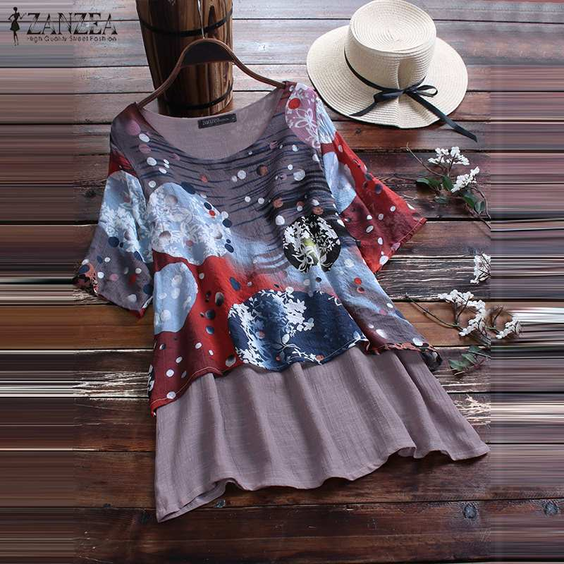 ZANZEA Women Summer   Shirt   Vintage Floral Printed Short Sleeve   Blouse   Casual Pacthwork Blusas Femininas Tunic Tops Chemise 2019