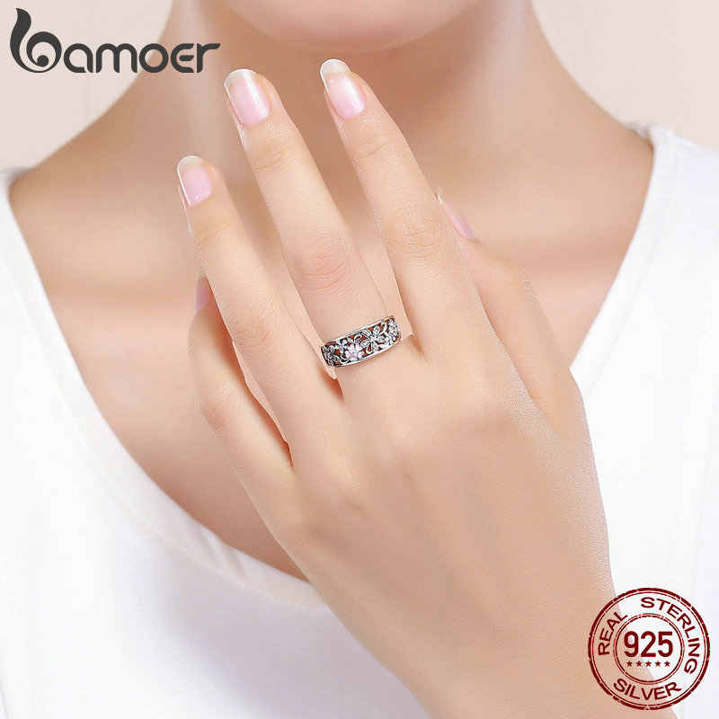 Bamoer Cherry Blossom ดอกไม้แหวนผู้หญิงเคลือบ Daisy กว้างสัญญาแหวนคำเครื่องประดับ Fine เครื่องประดับ GXR390