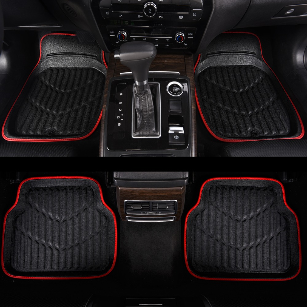 Universal Car Floor Mats Black/Red Pvc Leather Mats For Cars Anti Dirty Waterproof ,High Quality Fast Ship(China)