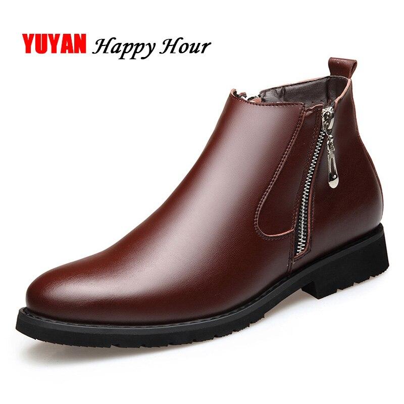 Bottes Chelsea en cuir véritable pour hommes chaussures d'hiver en peluche chaussures chaudes à la mode bottines à glissière pour hommes bottines noires A440