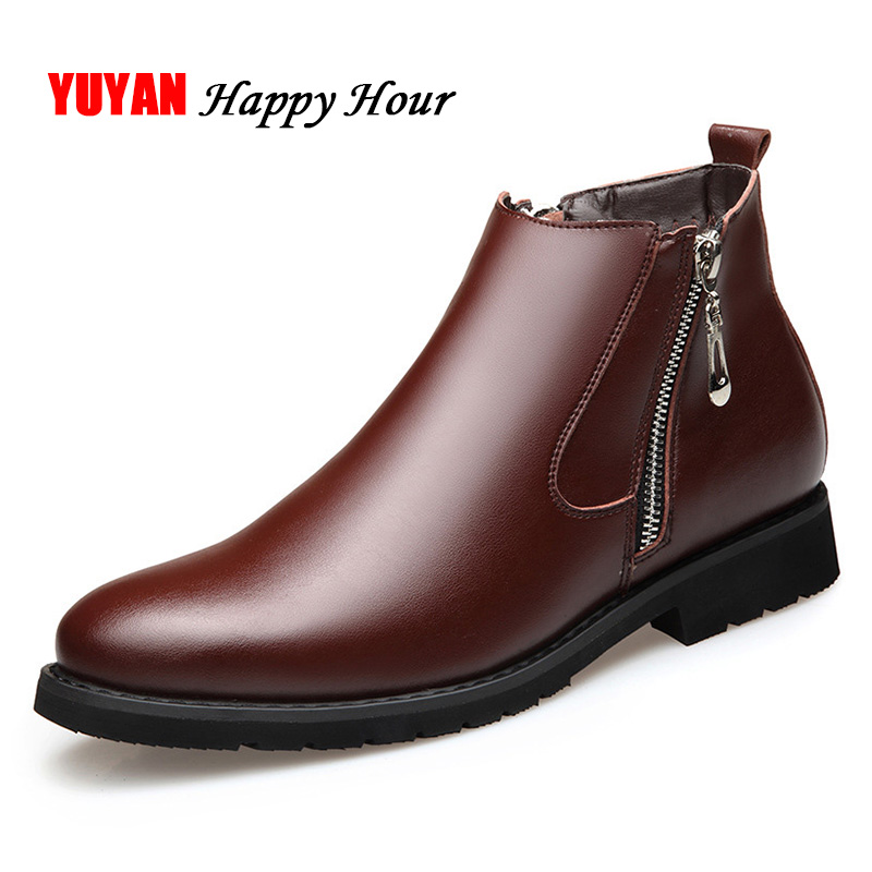 Genuine Leather Chelsea Boots Men Winter Shoes Plush Warm Shoes Fashion Zipper Booties Mens Ankle Boots Black Booties A440