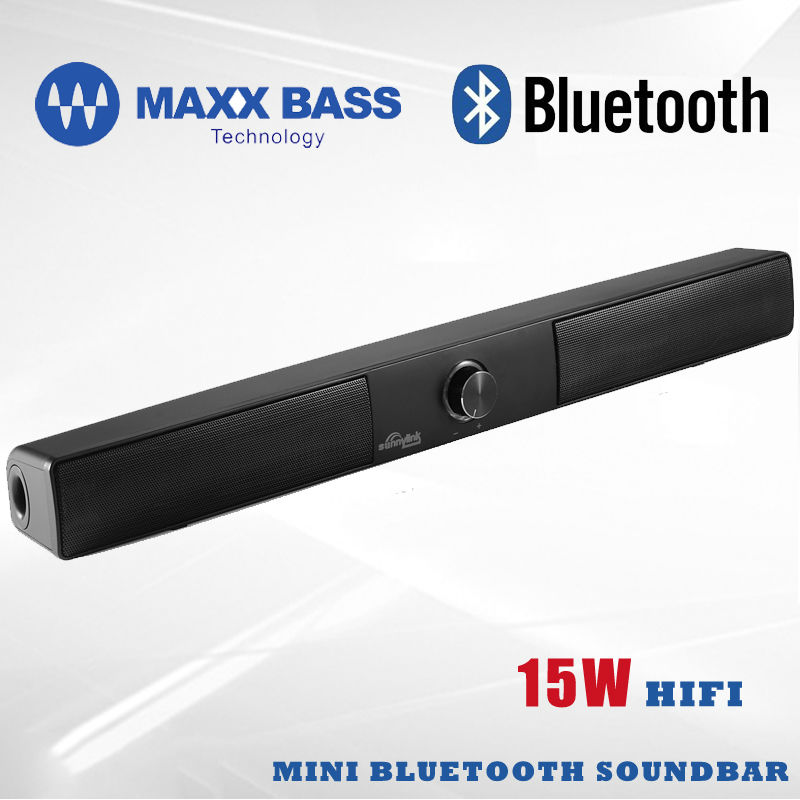 Sunnylink 15W Wireless Bluetooth Soundbar Super Bass Subwoofer bluetooth speaker Maxxbass DSP sound bar for TV/Computer/phones wireless bluetooth speaker led audio portable mini subwoofer